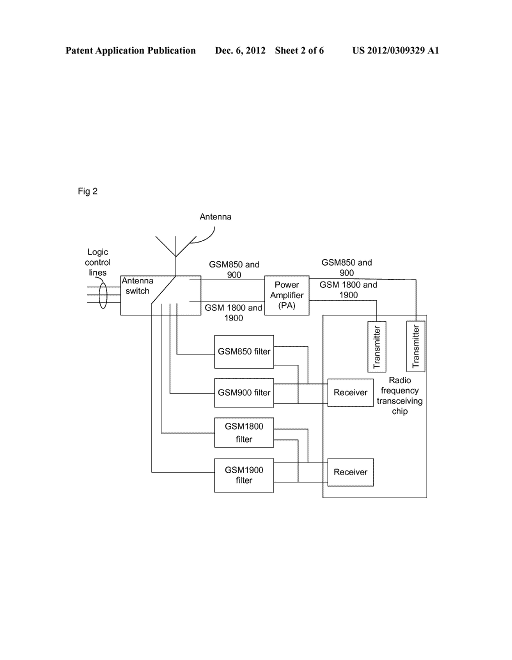 Device and equipment for four-frequency transceiving of global system for     mobile communication - diagram, schematic, and image 03