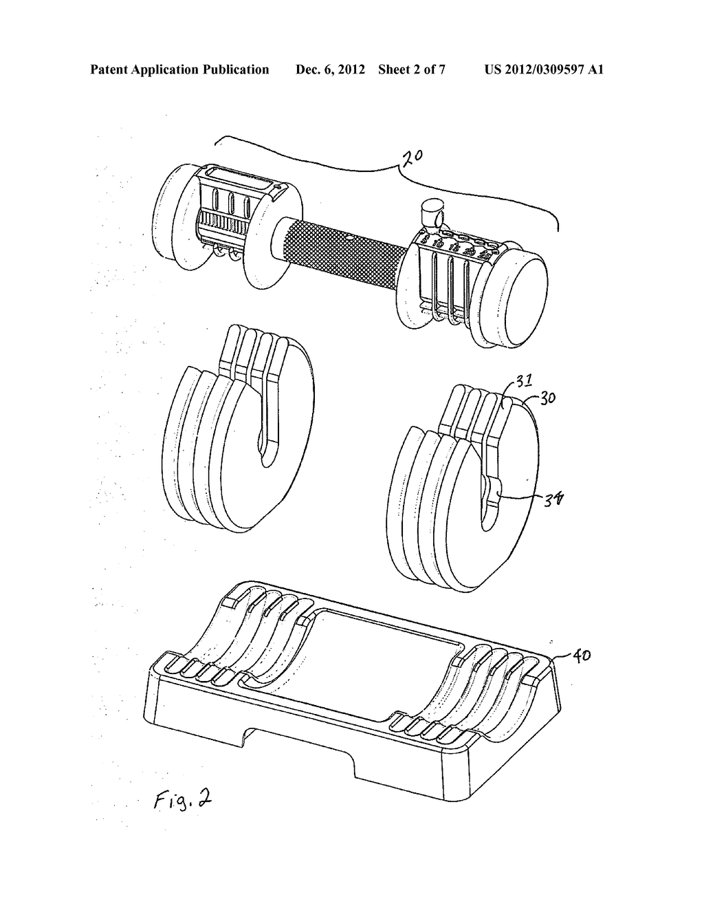 DUMBBELL GLIDE APPARATUS WITH WEIGHT ADJUSTING KEY - diagram, schematic, and image 03