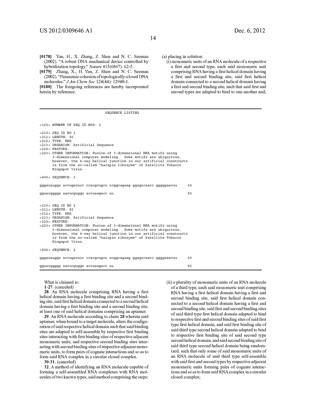 RNA COMPLEXES, METHODS OF THEIR PRODUCTION AND SENSORS AND ANALYTICAL     METHODS INVOLVING SAME - diagram, schematic, and image 34
