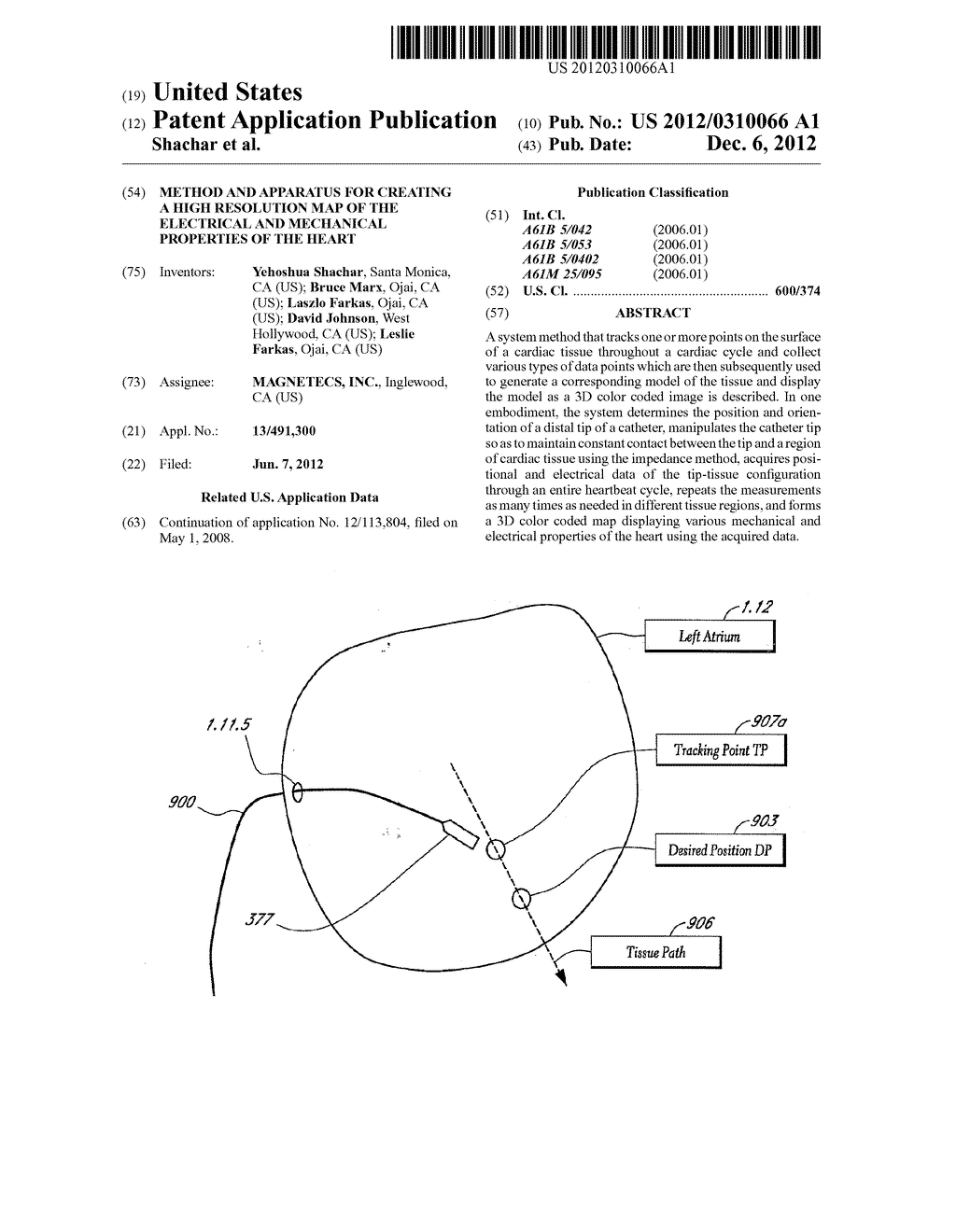 METHOD AND APPARATUS FOR CREATING A HIGH RESOLUTION MAP OF THE ELECTRICAL     AND MECHANICAL PROPERTIES OF THE HEART - diagram, schematic, and image 01