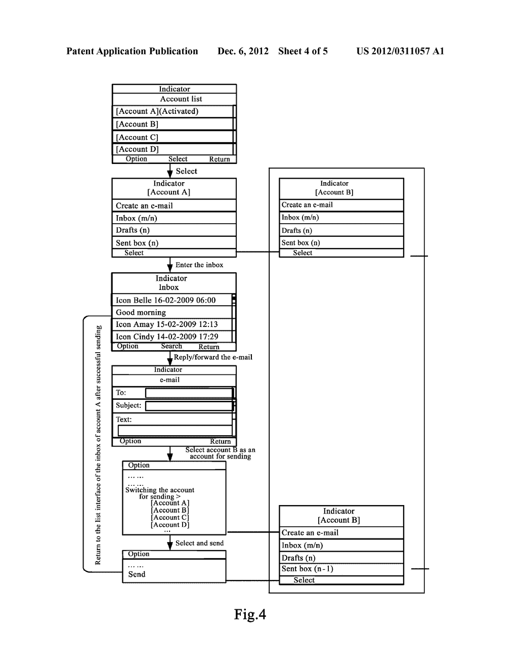 MOBILE TERMINAL AND METHOD FOR SWITCHING E-MAIL ACCOUNTS ON MOBILE     TERMINAL - diagram, schematic, and image 05