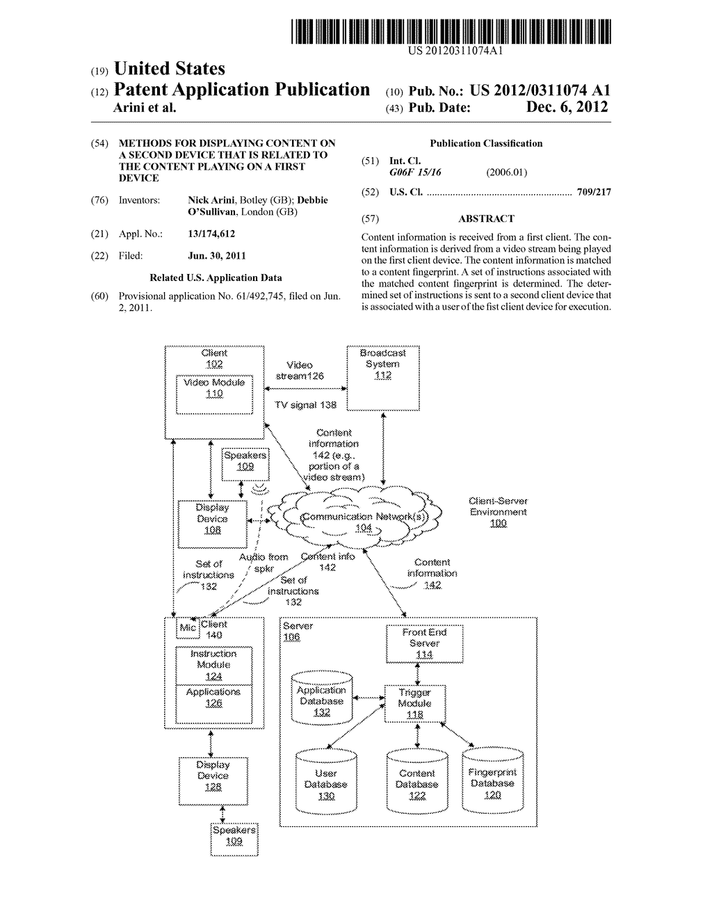 Methods for Displaying Content on a Second Device that is Related to the     Content Playing on a First Device - diagram, schematic, and image 01