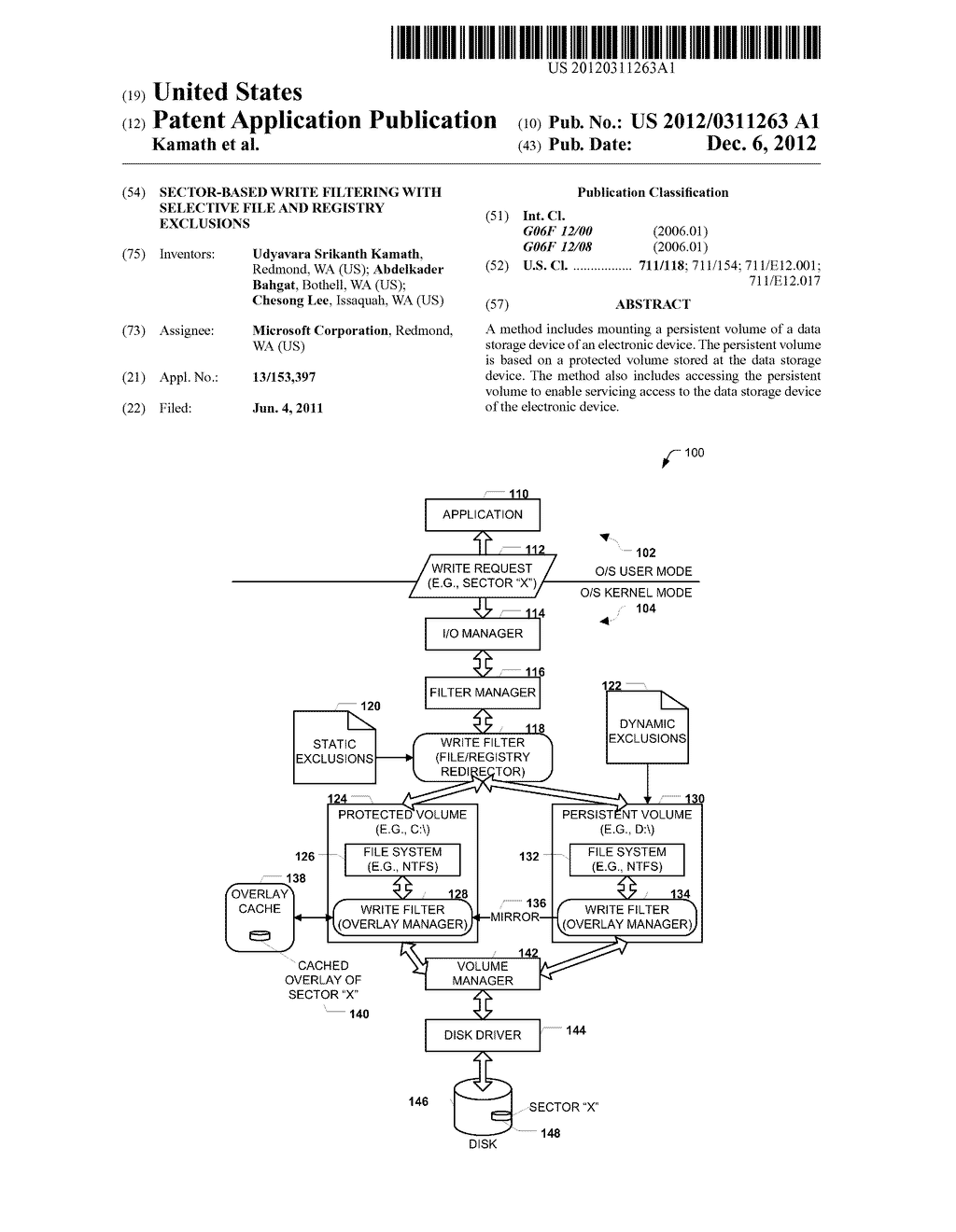 SECTOR-BASED WRITE FILTERING WITH SELECTIVE FILE AND REGISTRY EXCLUSIONS - diagram, schematic, and image 01
