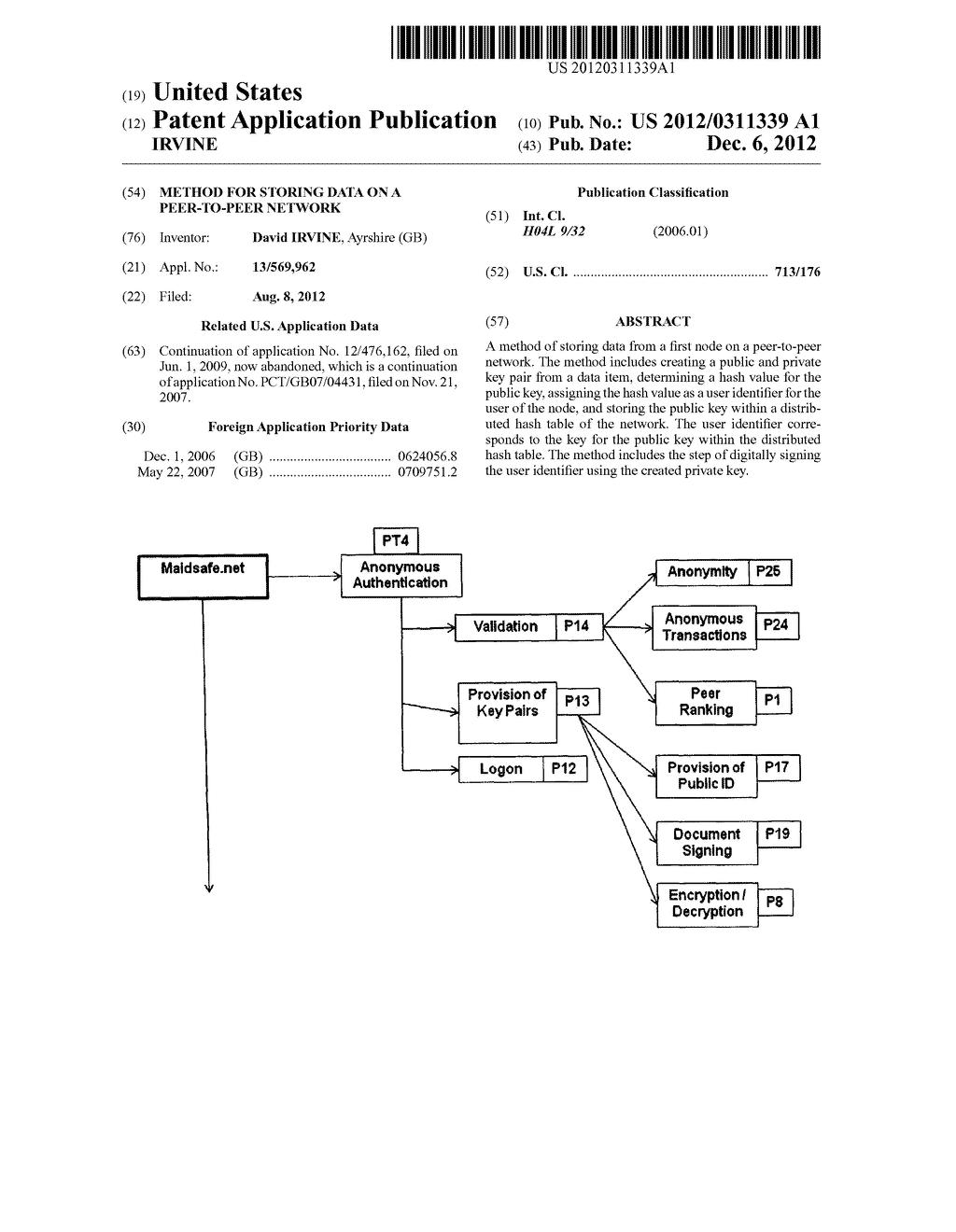 METHOD FOR STORING DATA ON A PEER-TO-PEER NETWORK - diagram, schematic, and image 01