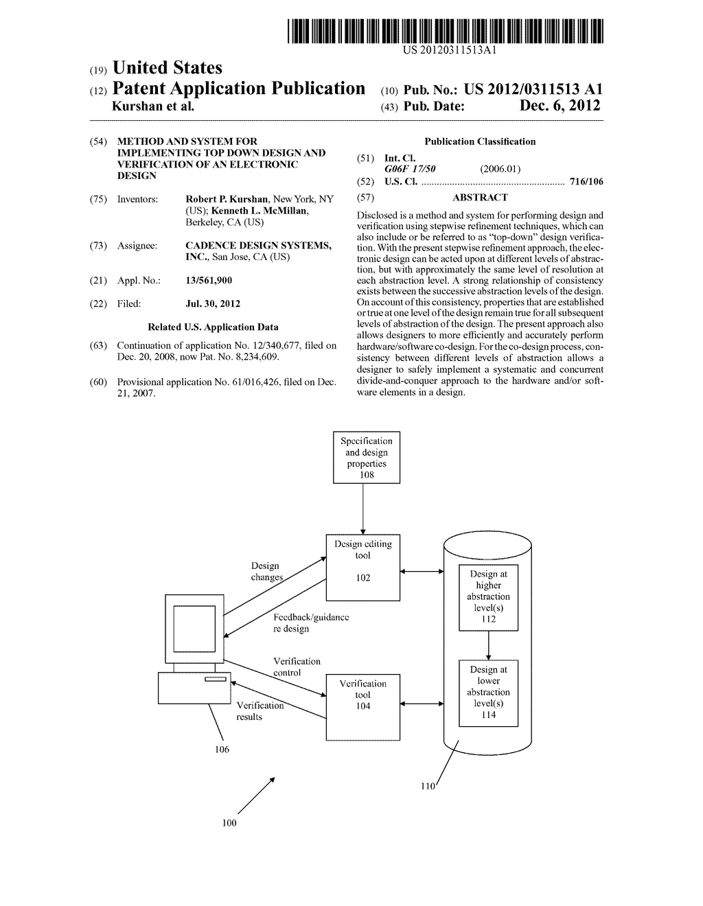 METHOD AND SYSTEM FOR IMPLEMENTING TOP DOWN DESIGN AND VERIFICATION OF AN     ELECTRONIC DESIGN - diagram, schematic, and image 01