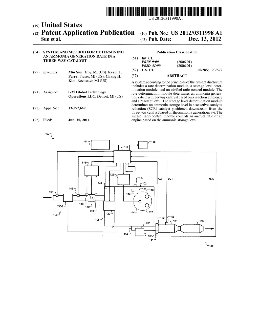SYSTEM AND METHOD FOR DETERMINING AN AMMONIA GENERATION RATE IN A     THREE-WAY CATALYST - diagram, schematic, and image 01