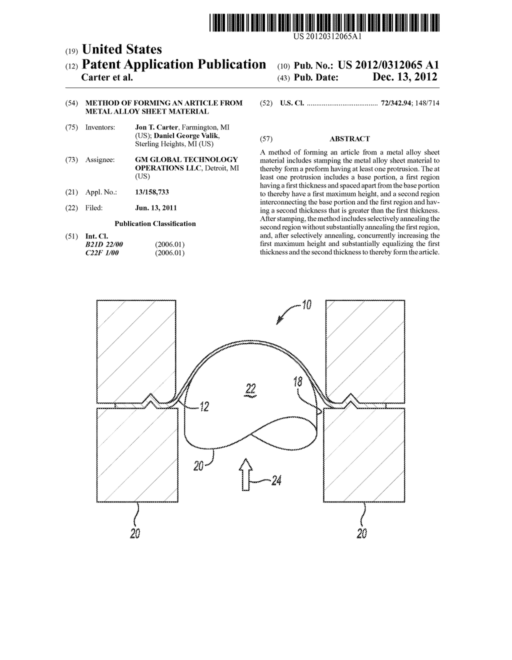 METHOD OF FORMING AN ARTICLE FROM METAL ALLOY SHEET MATERIAL - diagram, schematic, and image 01