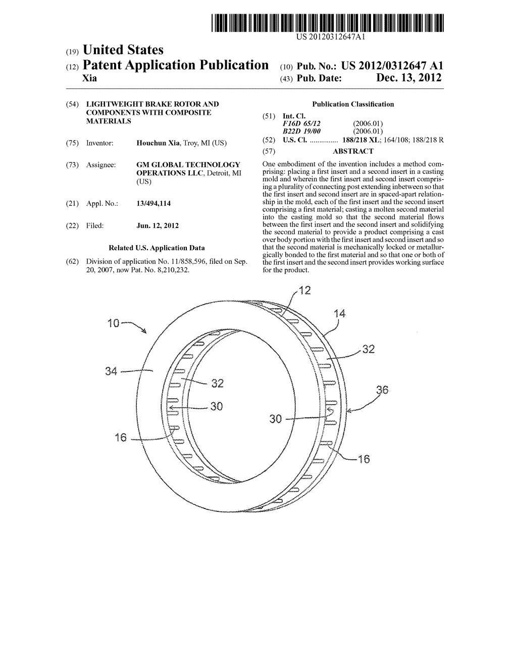 LIGHTWEIGHT BRAKE ROTOR AND COMPONENTS WITH COMPOSITE MATERIALS - diagram, schematic, and image 01