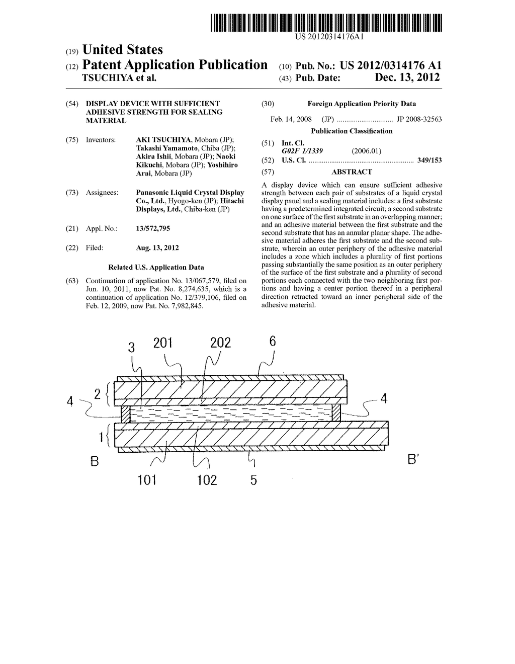 DISPLAY DEVICE WITH SUFFICIENT ADHESIVE STRENGTH FOR SEALING MATERIAL - diagram, schematic, and image 01