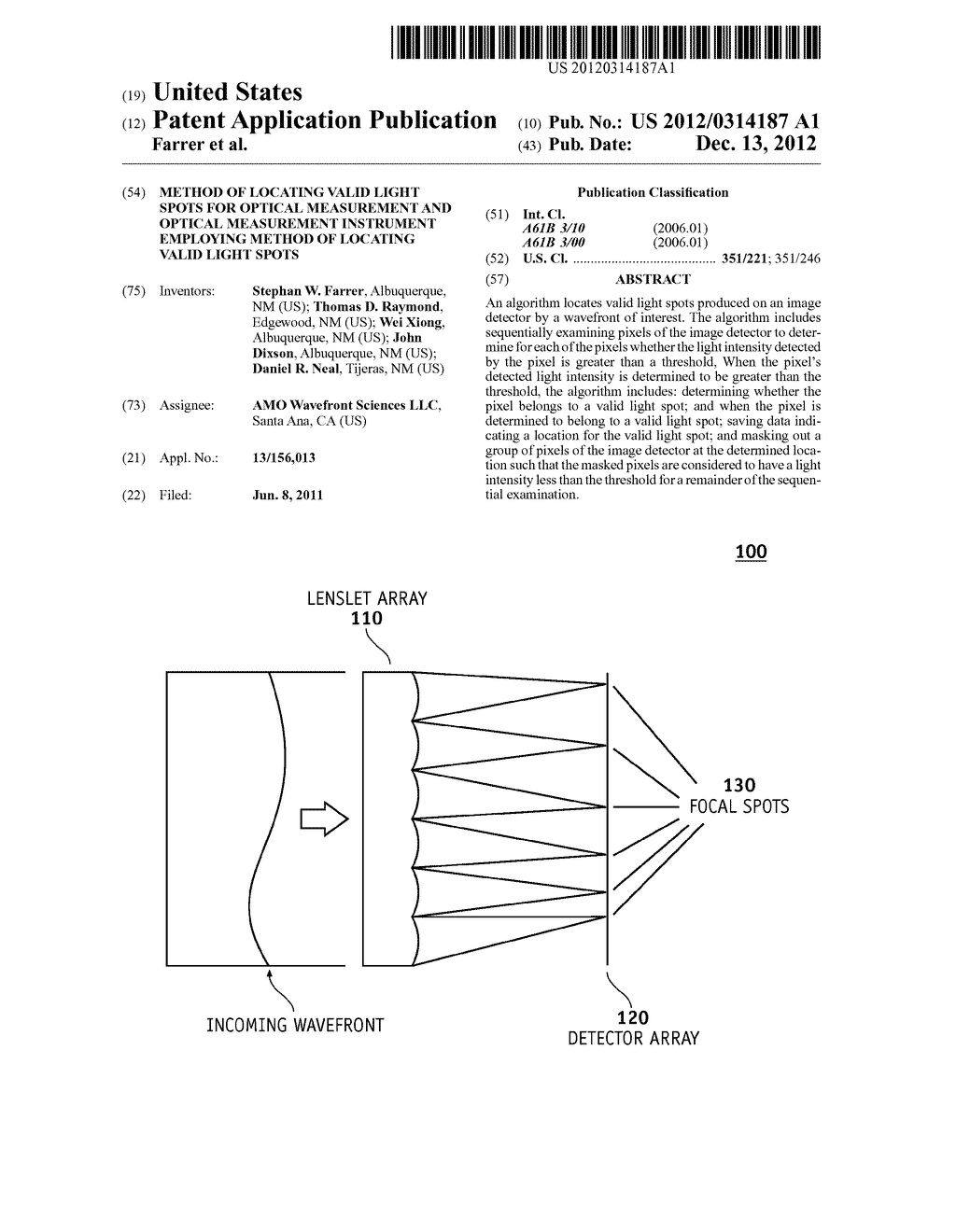 METHOD OF LOCATING VALID LIGHT SPOTS FOR OPTICAL MEASUREMENT AND OPTICAL     MEASUREMENT INSTRUMENT EMPLOYING METHOD OF LOCATING VALID LIGHT SPOTS - diagram, schematic, and image 01