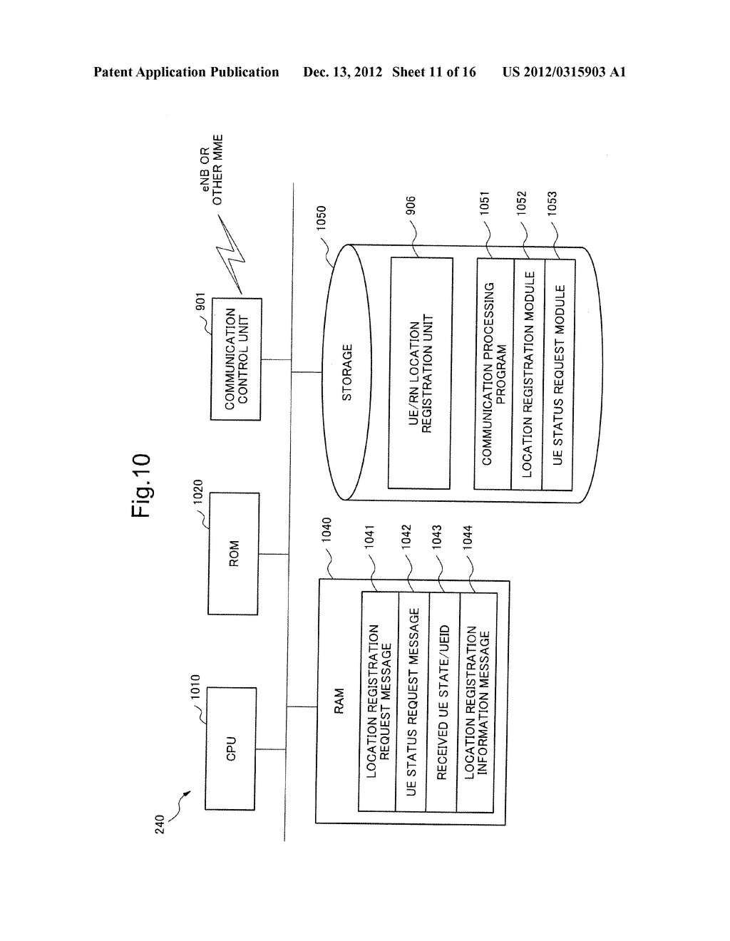 MOBILE COMMUNICATION SYSTEM, LOCATION REGISTRATION METHOD, RELAY NODE AND     CONTROL METHOD THEREOF, AND STORAGE MEDIUM OF CONTROL PROGRAM - diagram, schematic, and image 12