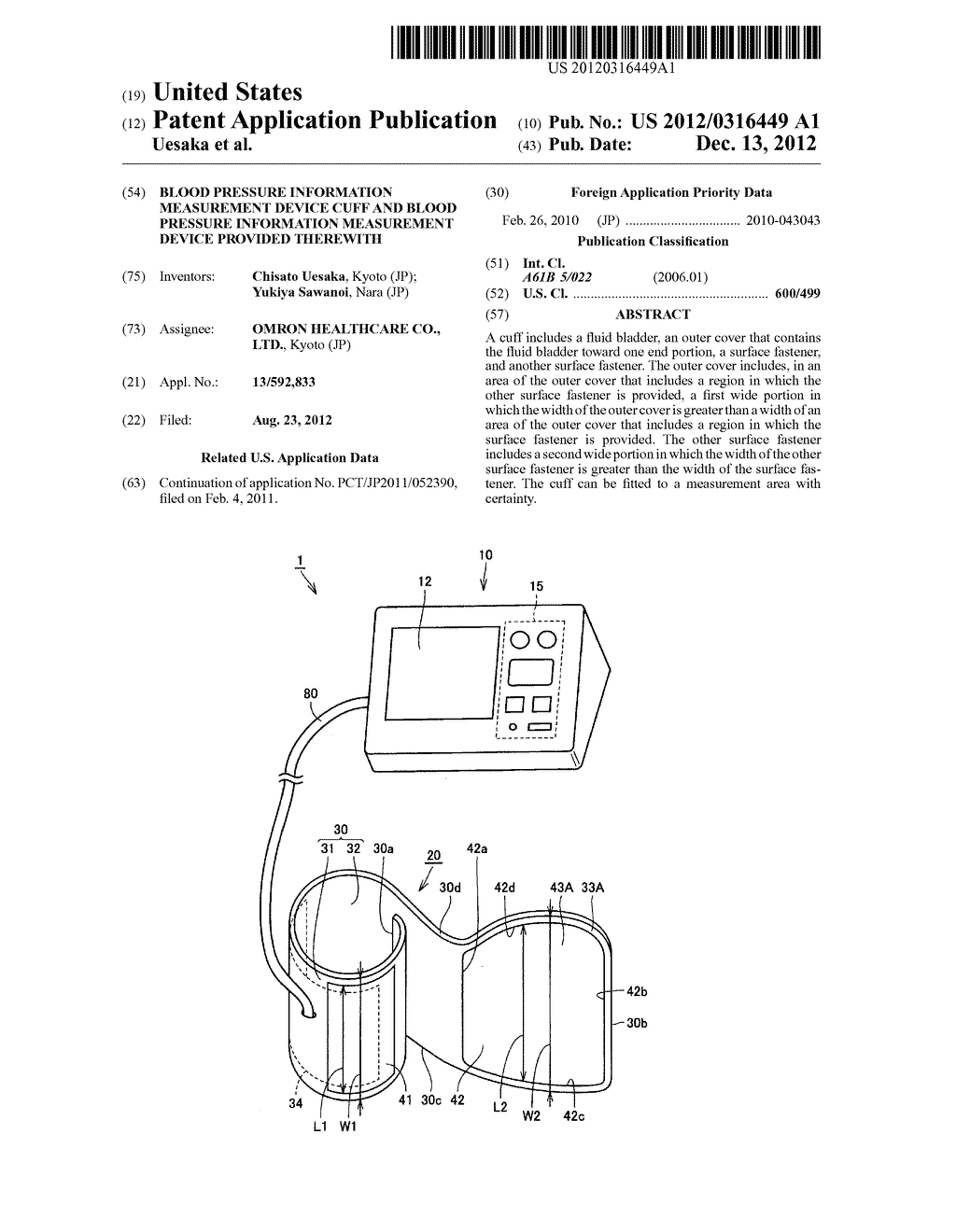 BLOOD PRESSURE INFORMATION MEASUREMENT DEVICE CUFF AND BLOOD PRESSURE     INFORMATION MEASUREMENT DEVICE PROVIDED THEREWITH - diagram, schematic, and image 01