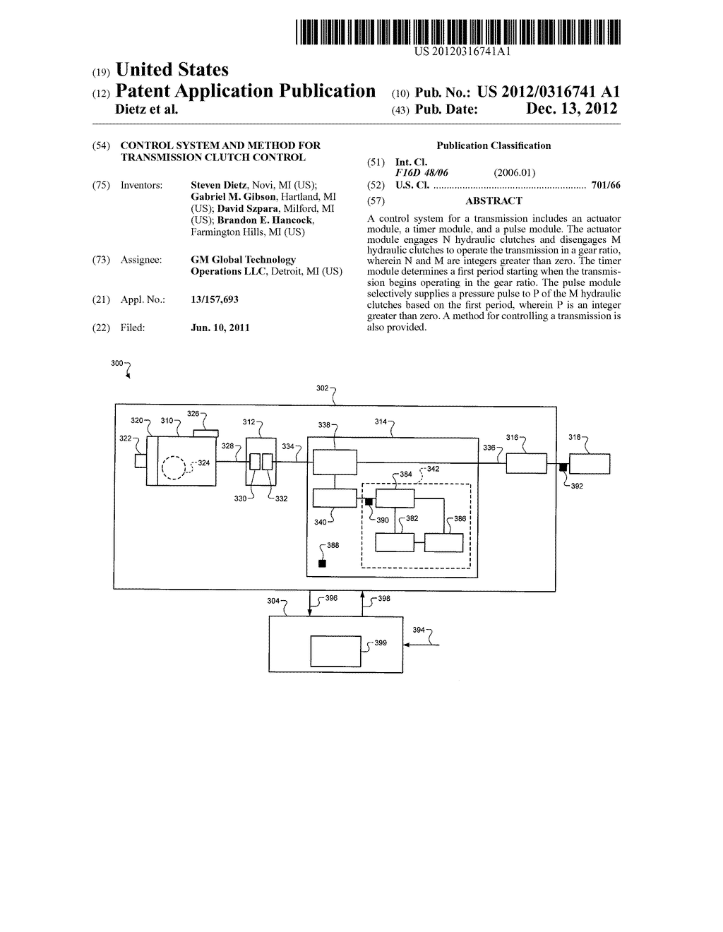 CONTROL SYSTEM AND METHOD FOR TRANSMISSION CLUTCH CONTROL - diagram, schematic, and image 01