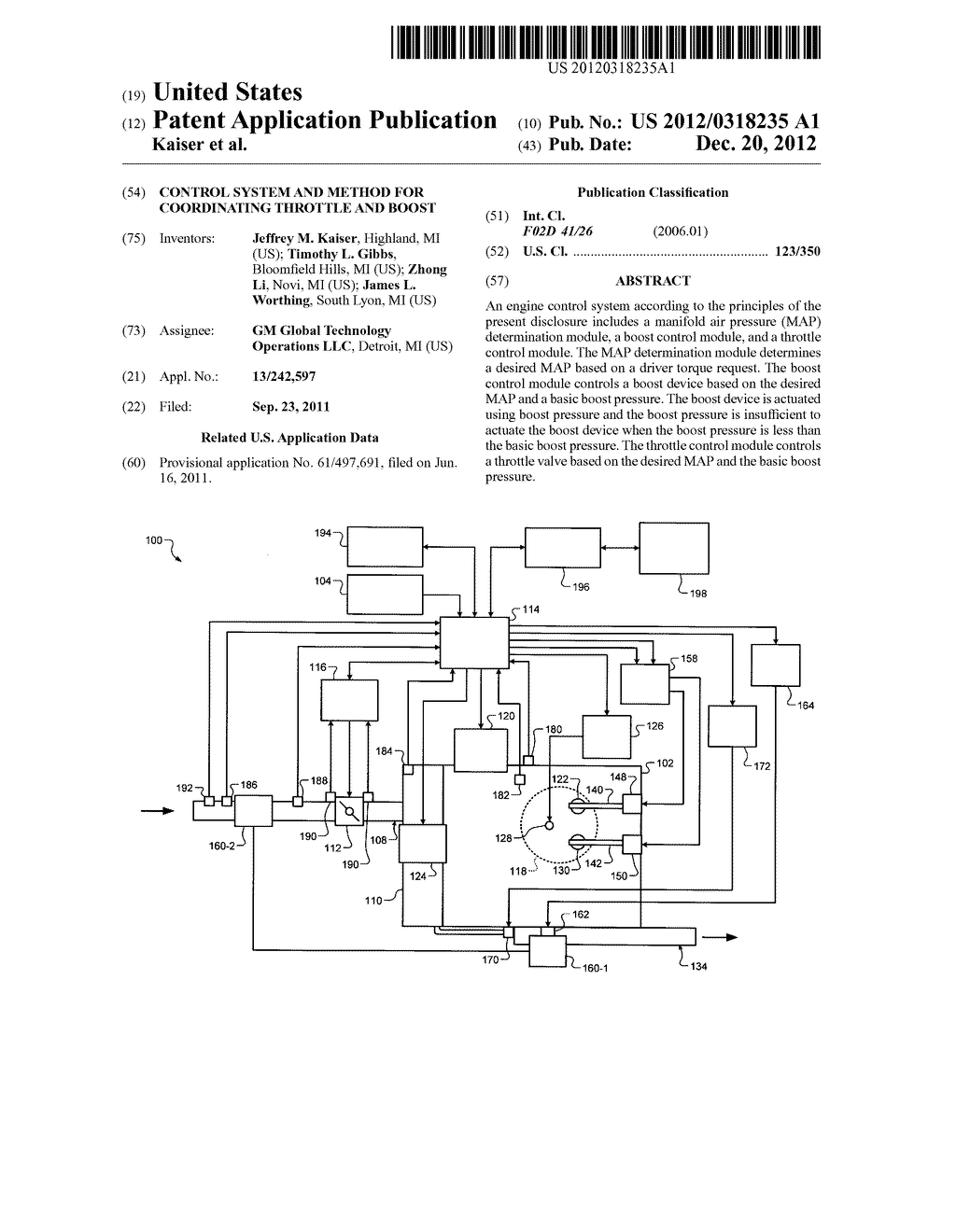CONTROL SYSTEM AND METHOD FOR COORDINATING THROTTLE AND BOOST - diagram, schematic, and image 01