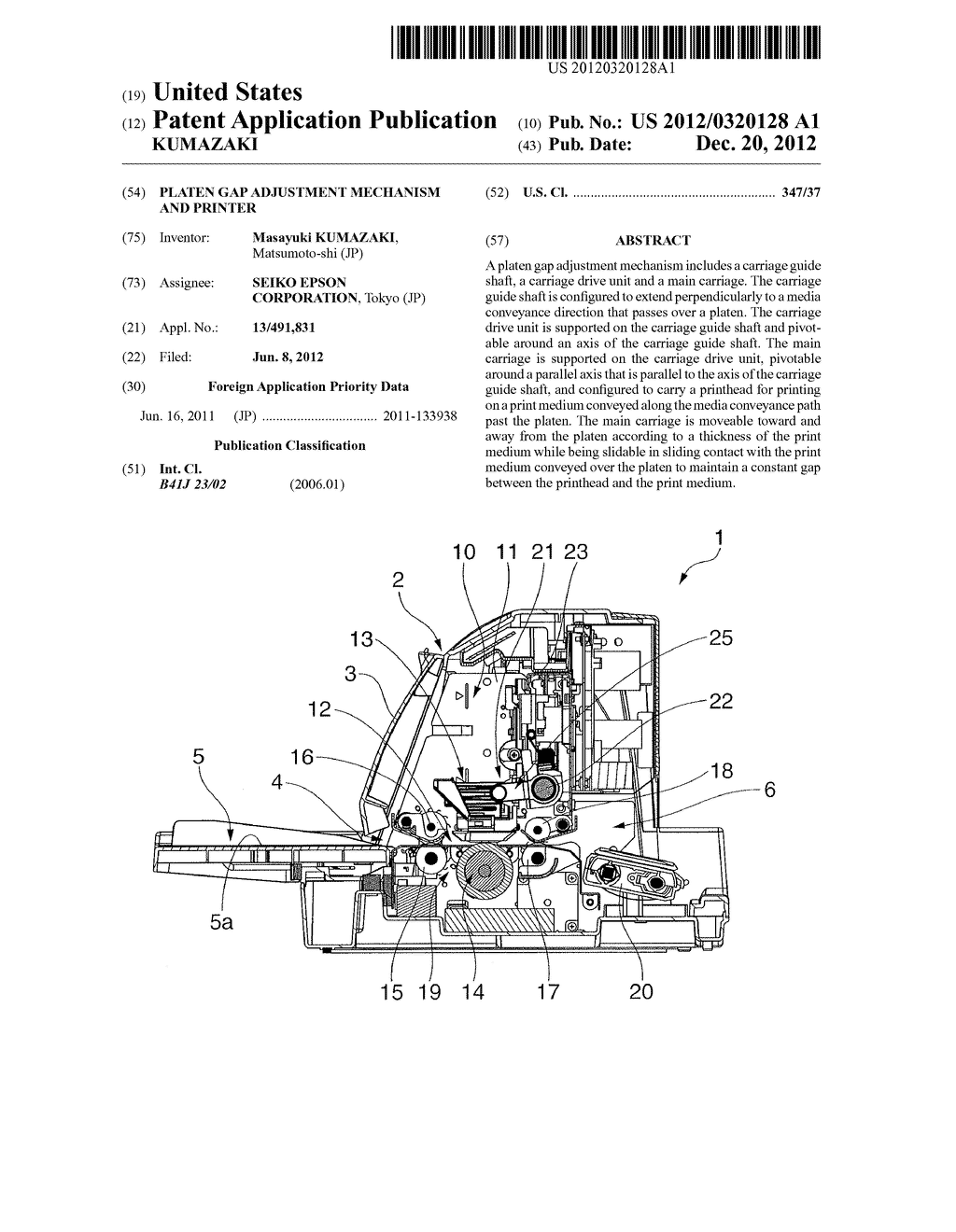 PLATEN GAP ADJUSTMENT MECHANISM AND PRINTER - diagram, schematic, and image 01