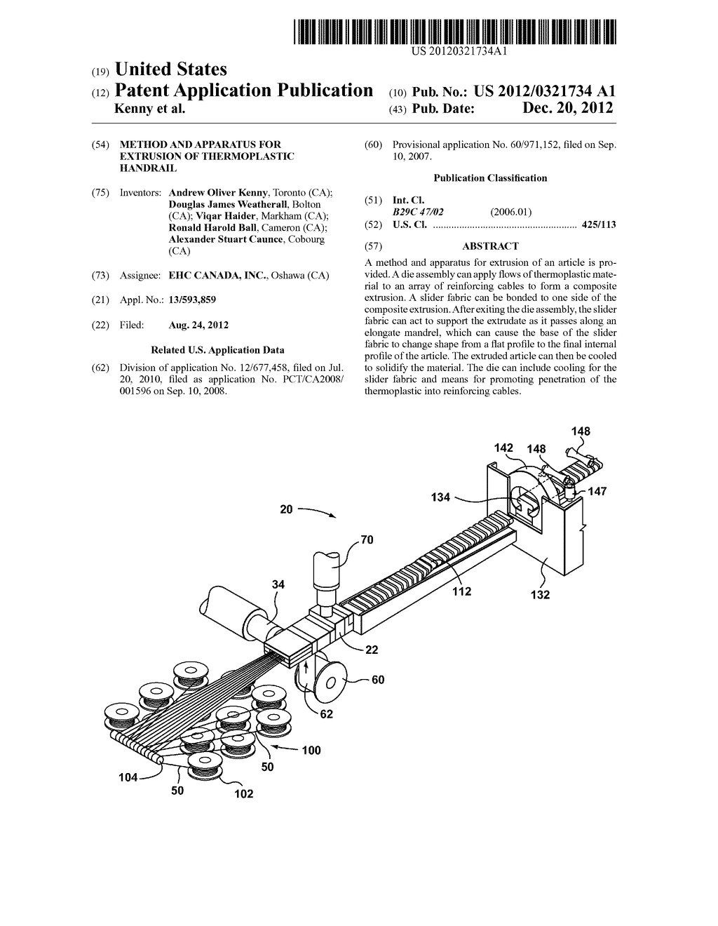 METHOD AND APPARATUS FOR EXTRUSION OF THERMOPLASTIC HANDRAIL - diagram, schematic, and image 01
