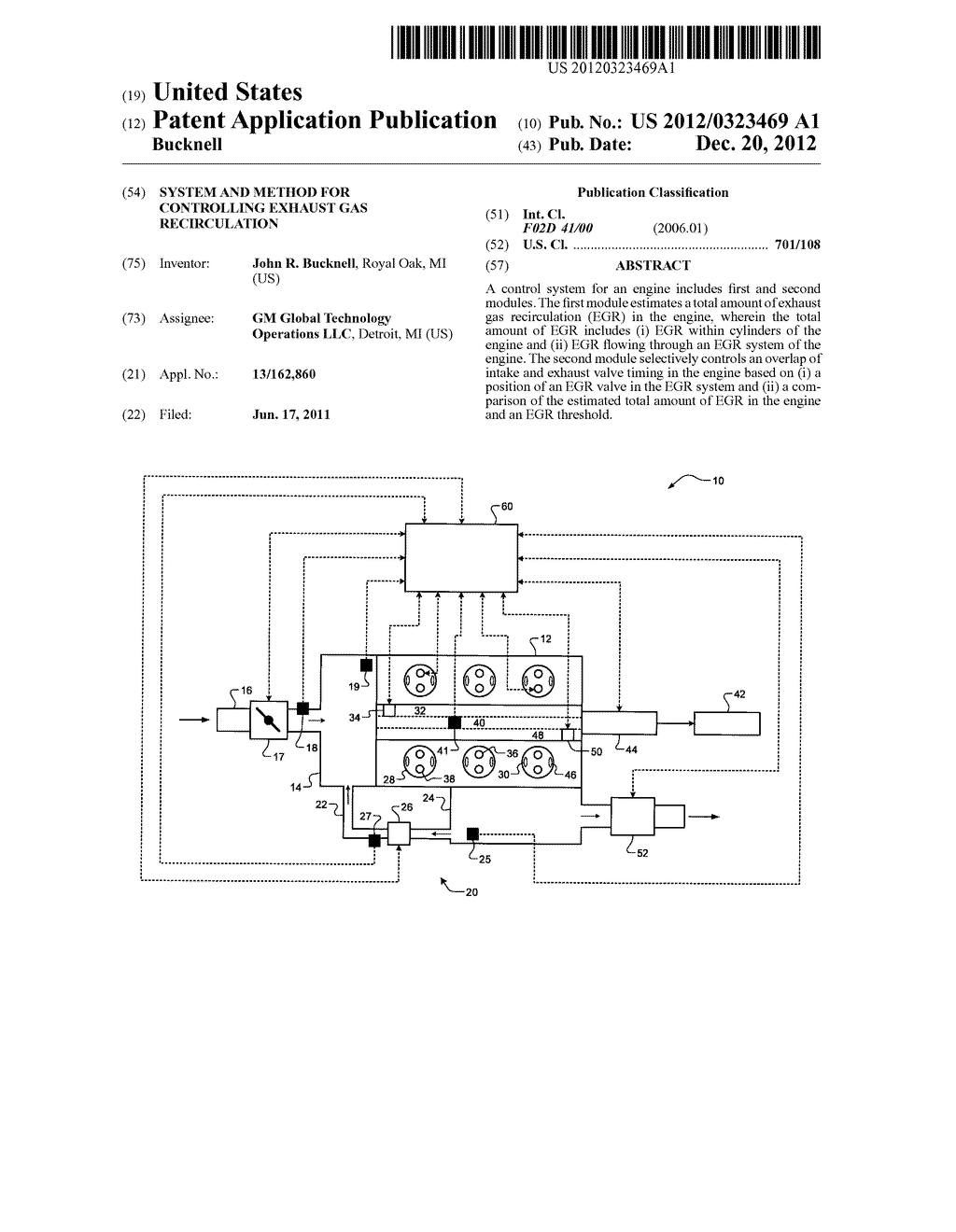 SYSTEM AND METHOD FOR CONTROLLING EXHAUST GAS RECIRCULATION - diagram, schematic, and image 01