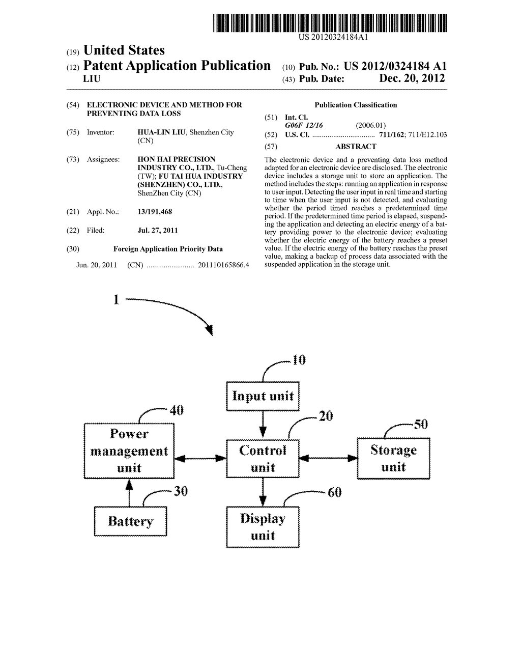 ELECTRONIC DEVICE AND METHOD FOR PREVENTING DATA LOSS - diagram, schematic, and image 01