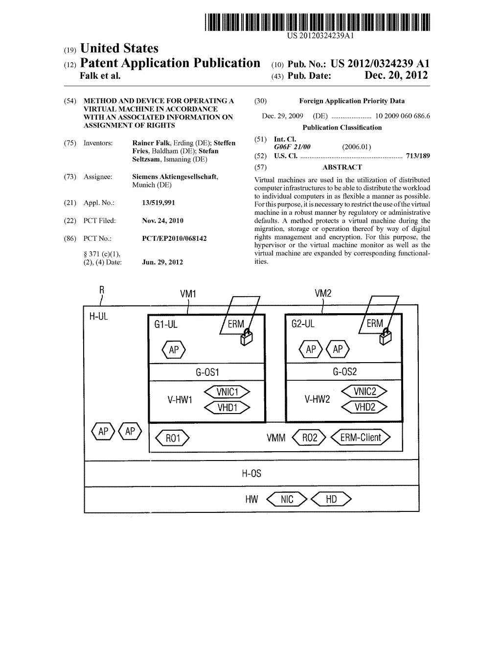 METHOD AND DEVICE FOR OPERATING A VIRTUAL MACHINE IN ACCORDANCE WITH AN     ASSOCIATED INFORMATION ON ASSIGNMENT OF RIGHTS - diagram, schematic, and image 01