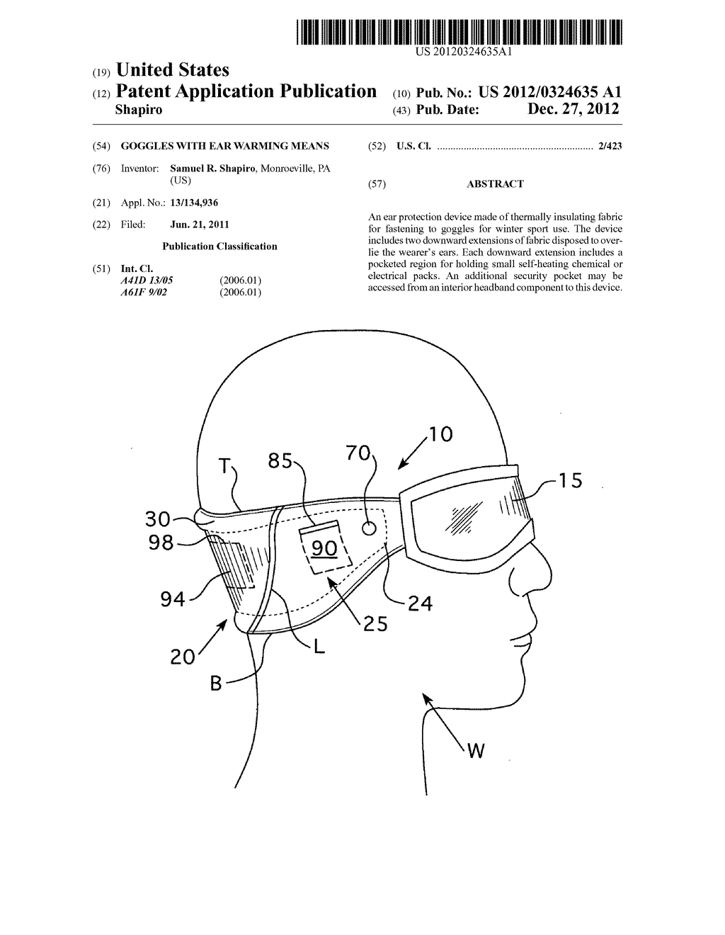 Goggles with ear warming means - diagram, schematic, and image 01