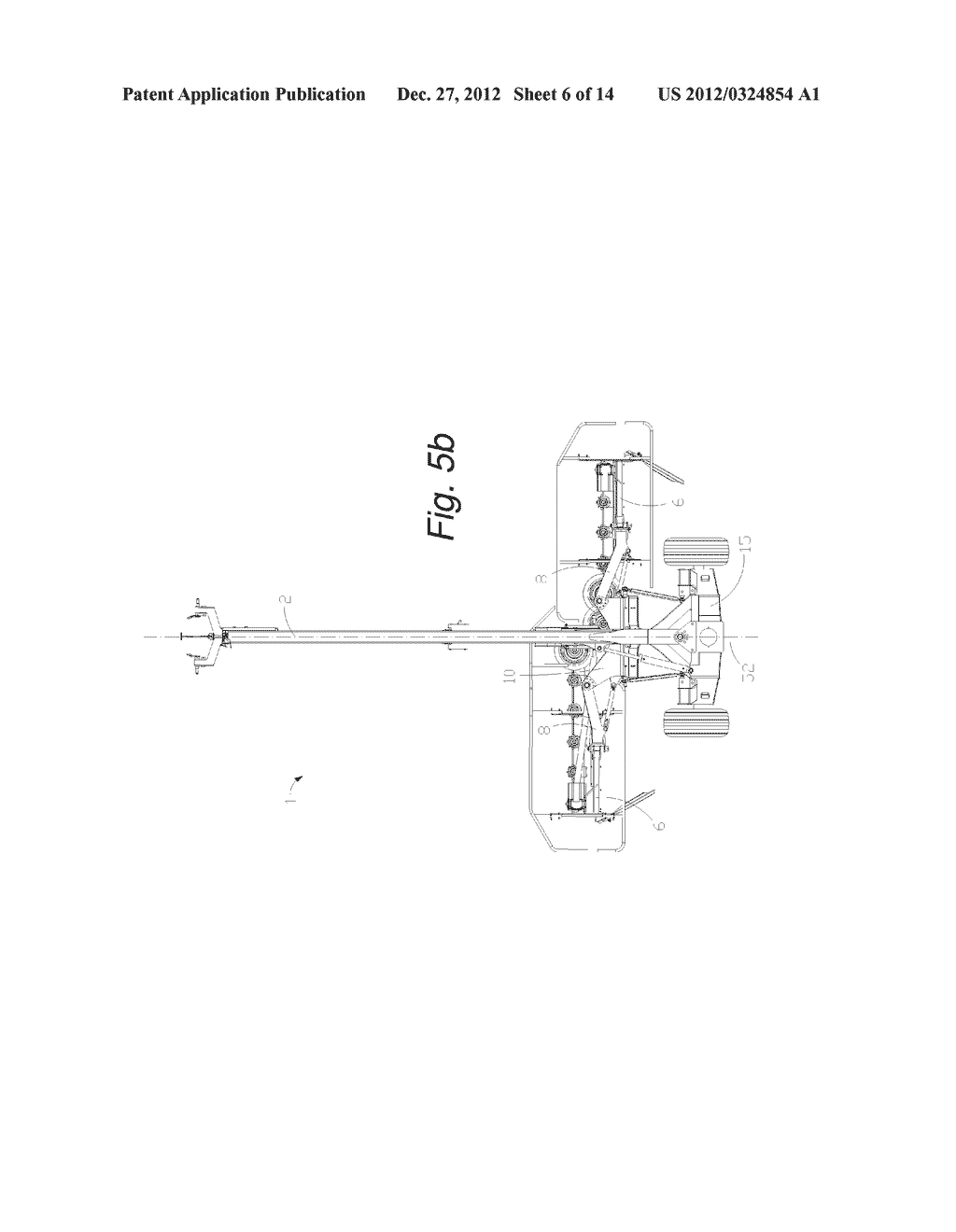 Self-Leveling Four-Bar Linkage for Suspending a Header of an Agricultural     Implement - diagram, schematic, and image 07