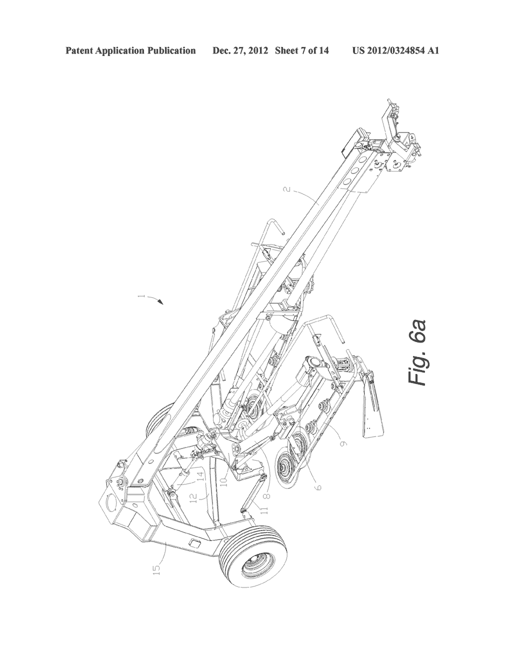 Self-Leveling Four-Bar Linkage for Suspending a Header of an Agricultural     Implement - diagram, schematic, and image 08