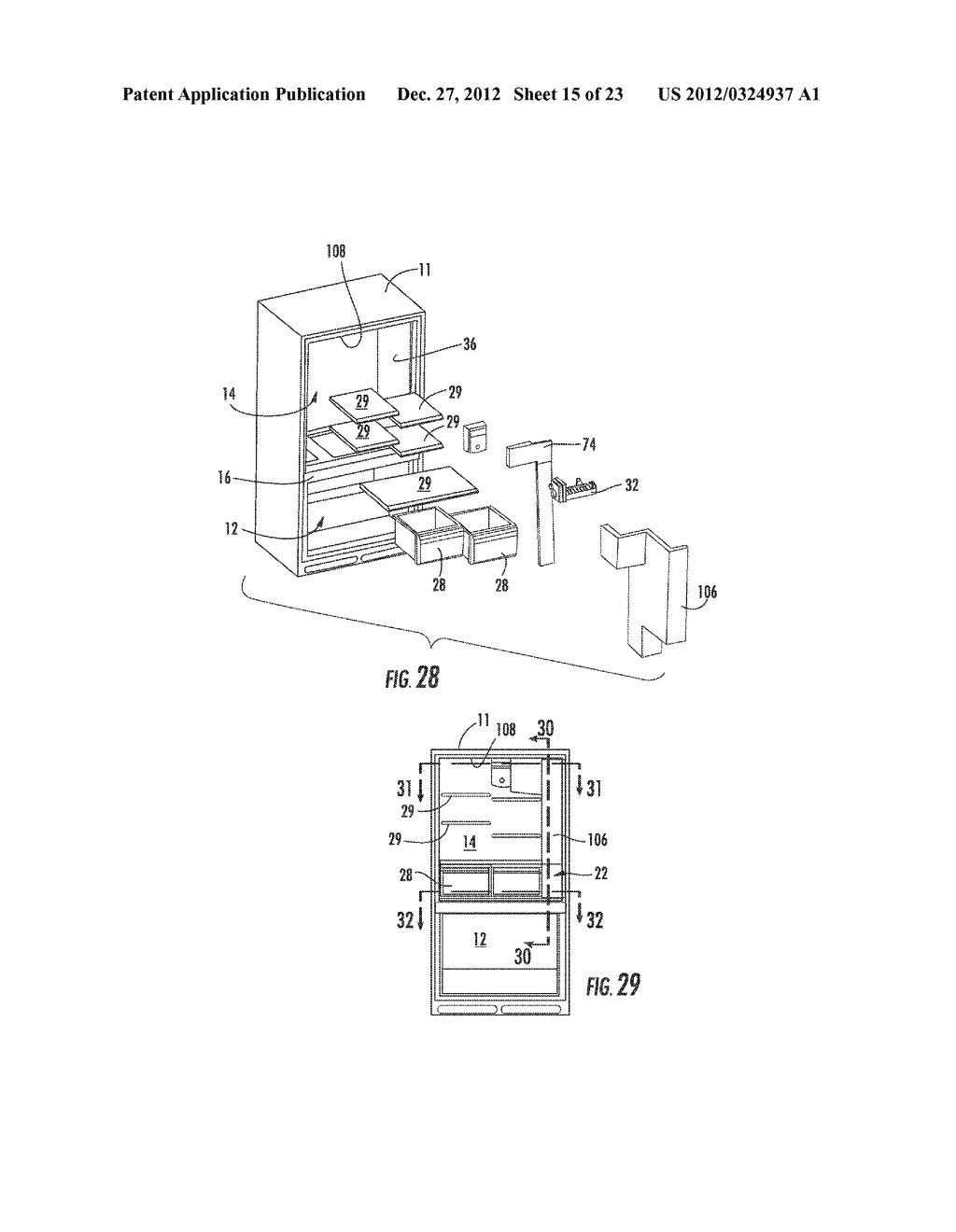 APPARATUS AND METHOD FOR DISPENSING ICE FROM A BOTTOM MOUNT REFRIGERATOR - diagram, schematic, and image 16