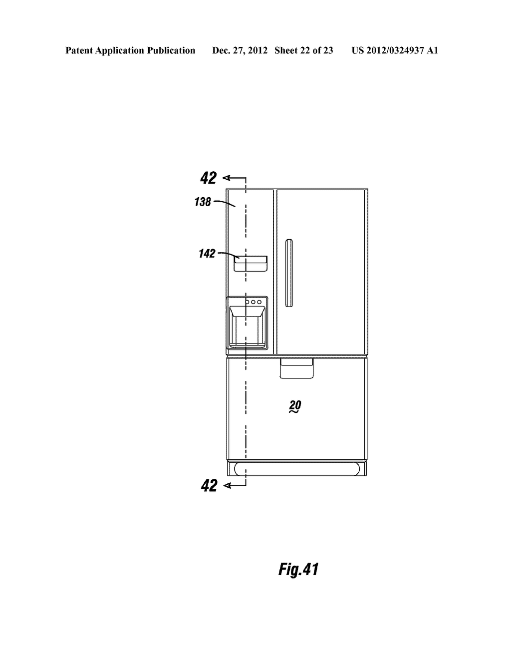 APPARATUS AND METHOD FOR DISPENSING ICE FROM A BOTTOM MOUNT REFRIGERATOR - diagram, schematic, and image 23