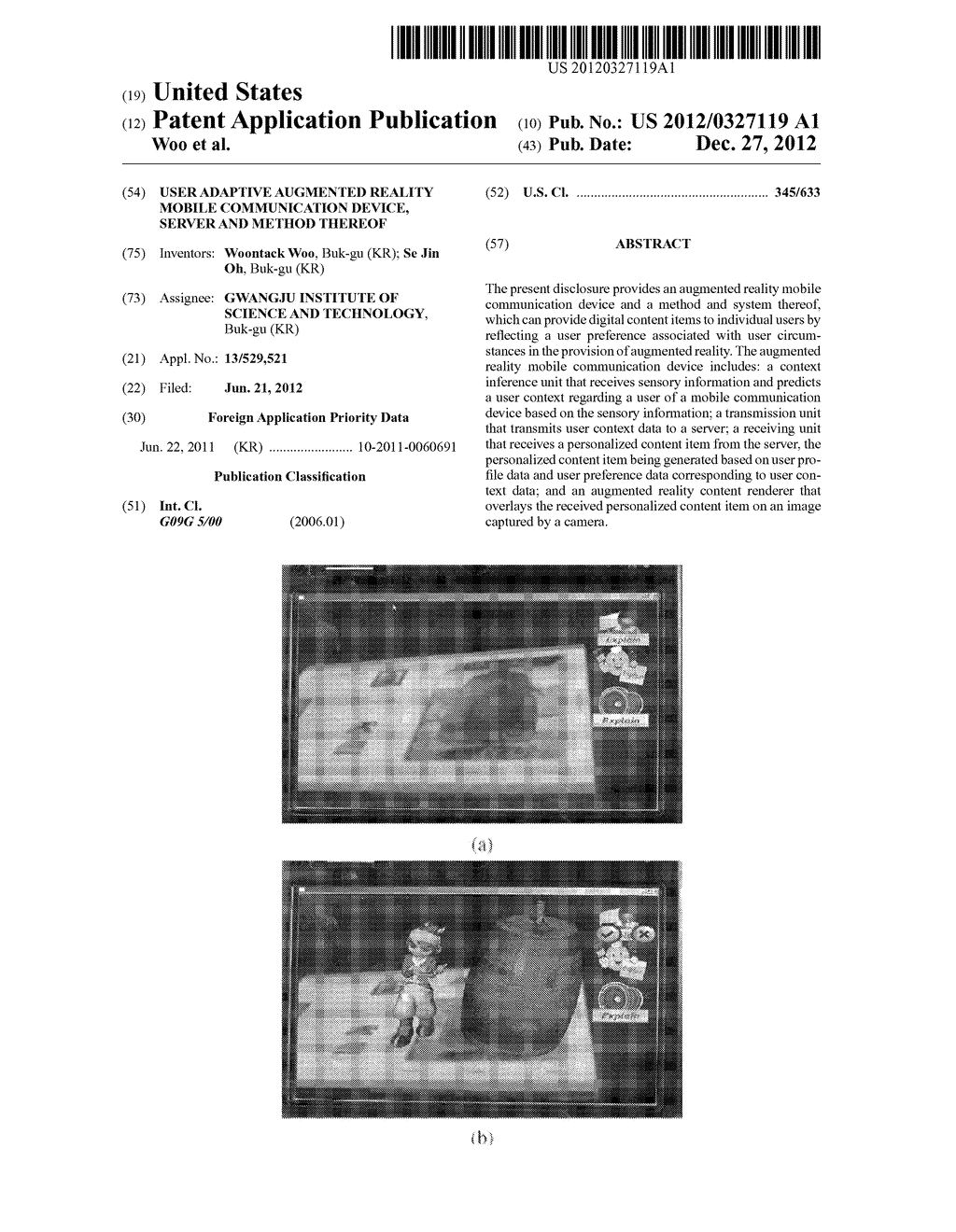 USER ADAPTIVE AUGMENTED REALITY MOBILE COMMUNICATION DEVICE, SERVER AND     METHOD THEREOF - diagram, schematic, and image 01