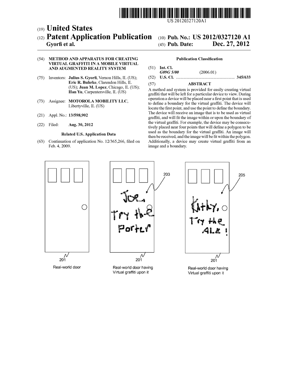 METHOD AND APPARATUS FOR CREATING VIRTUAL GRAFFITI IN A MOBILE VIRTUAL AND     AUGMENTED REALITY SYSTEM - diagram, schematic, and image 01