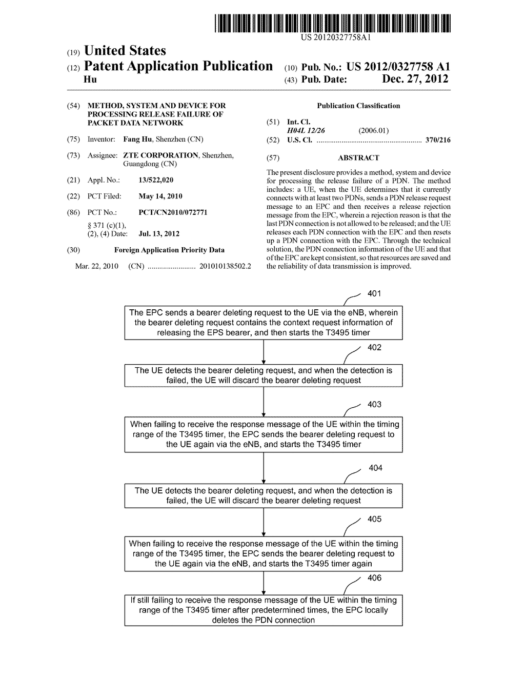 Method, system and device for processing release failure of packet data     network - diagram, schematic, and image 01