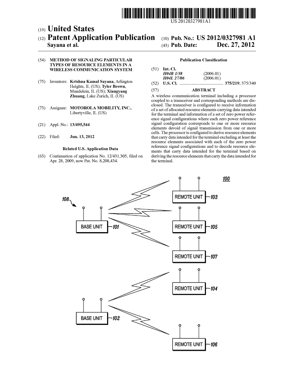 Method of Signaling Particular Types of Resource Elements in a Wireless     Communication System - diagram, schematic, and image 01
