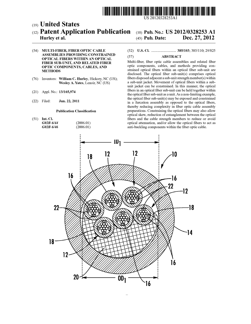 MULTI-FIBER, FIBER OPTIC CABLE ASSEMBLIES PROVIDING CONSTRAINED OPTICAL     FIBERS WITHIN AN OPTICAL FIBER SUB-UNIT, AND RELATED FIBER OPTIC     COMPONENTS, CABLES, AND METHODS - diagram, schematic, and image 01