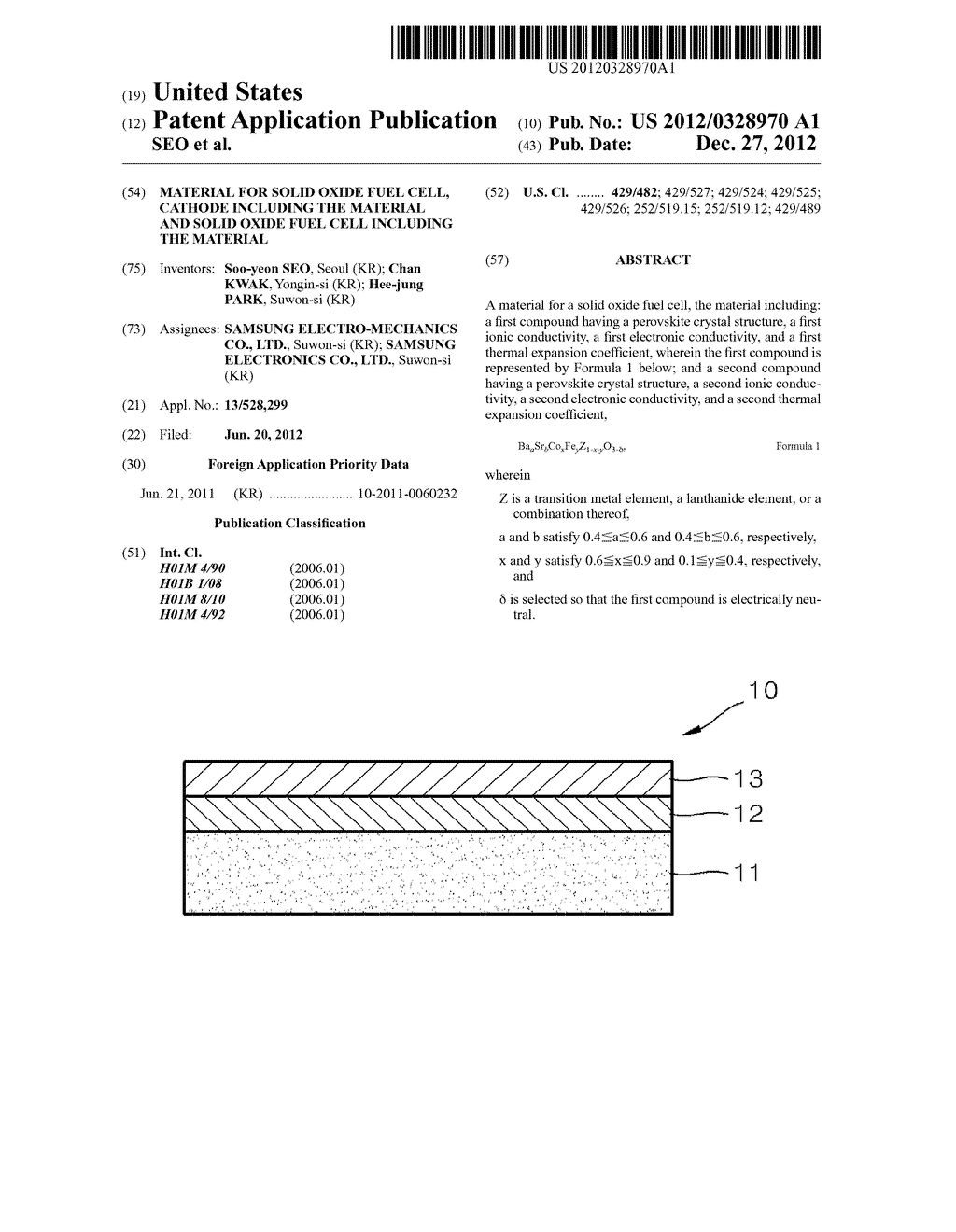 MATERIAL FOR SOLID OXIDE FUEL CELL, CATHODE INCLUDING THE MATERIAL AND     SOLID OXIDE FUEL CELL INCLUDING THE MATERIAL - diagram, schematic, and image 01