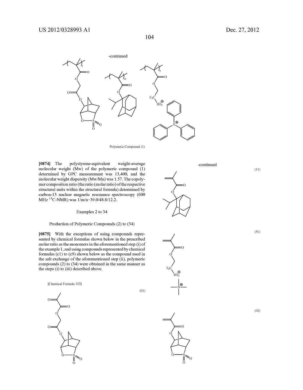 METHOD OF PRODUCING POLYMERIC COMPOUND, RESIST COMPOSITION, AND METHOD OF     FORMING RESIST PATTERN - diagram, schematic, and image 105