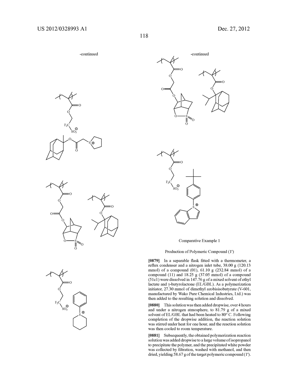 METHOD OF PRODUCING POLYMERIC COMPOUND, RESIST COMPOSITION, AND METHOD OF     FORMING RESIST PATTERN - diagram, schematic, and image 119