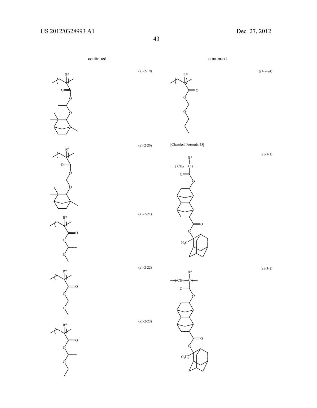 METHOD OF PRODUCING POLYMERIC COMPOUND, RESIST COMPOSITION, AND METHOD OF     FORMING RESIST PATTERN - diagram, schematic, and image 44