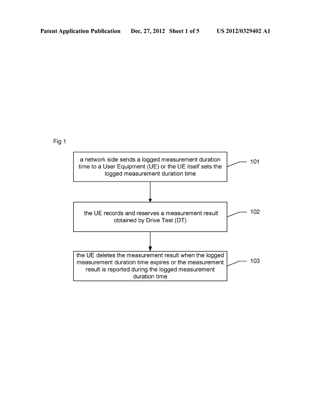Method for controlling drive test logged measurement, drive test system     and user equipment - diagram, schematic, and image 02