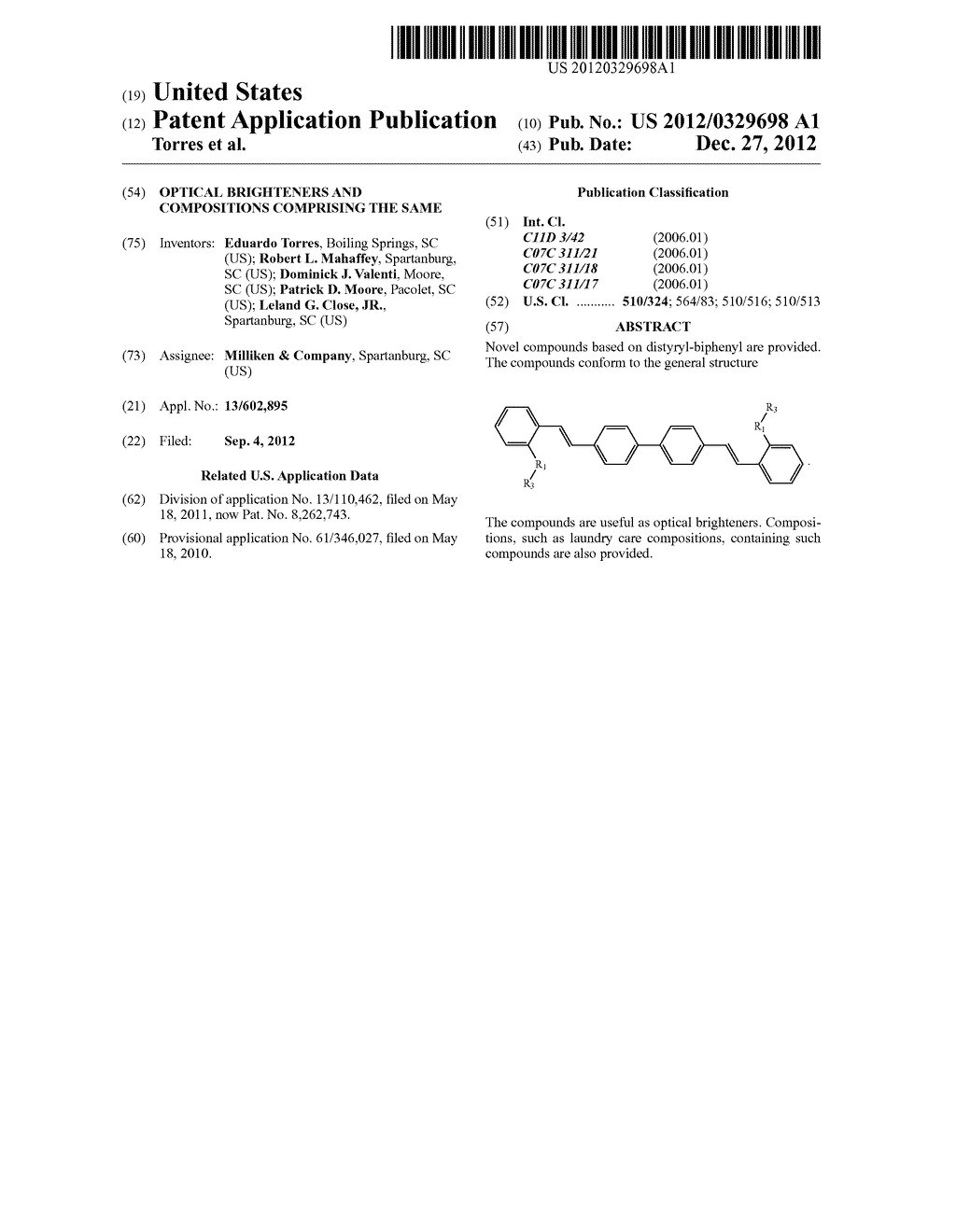 OPTICAL BRIGHTENERS AND COMPOSITIONS COMPRISING THE SAME - diagram, schematic, and image 01