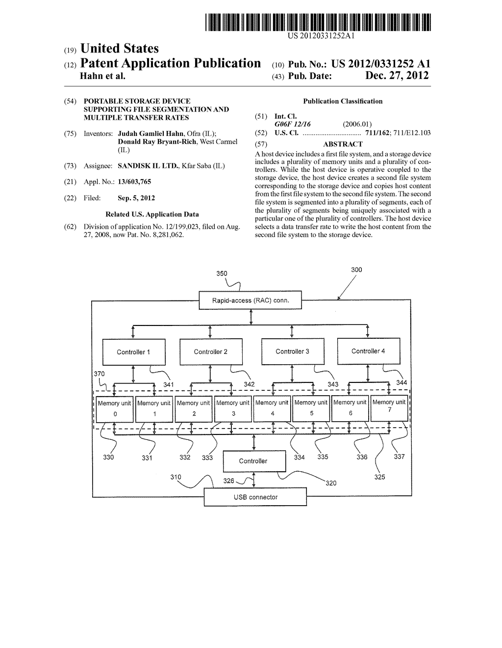 PORTABLE STORAGE DEVICE SUPPORTING FILE SEGMENTATION AND MULTIPLE TRANSFER     RATES - diagram, schematic, and image 01