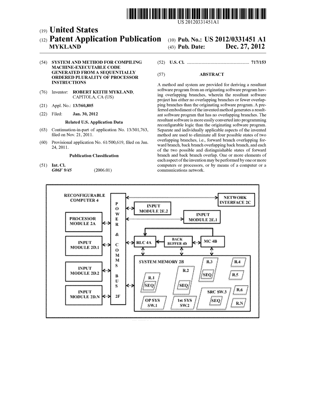 SYSTEM AND METHOD FOR COMPILING MACHINE-EXECUTABLE CODE GENERATED FROM A     SEQUENTIALLY ORDERED PLURALITY OF PROCESSOR INSTRUCTIONS - diagram, schematic, and image 01