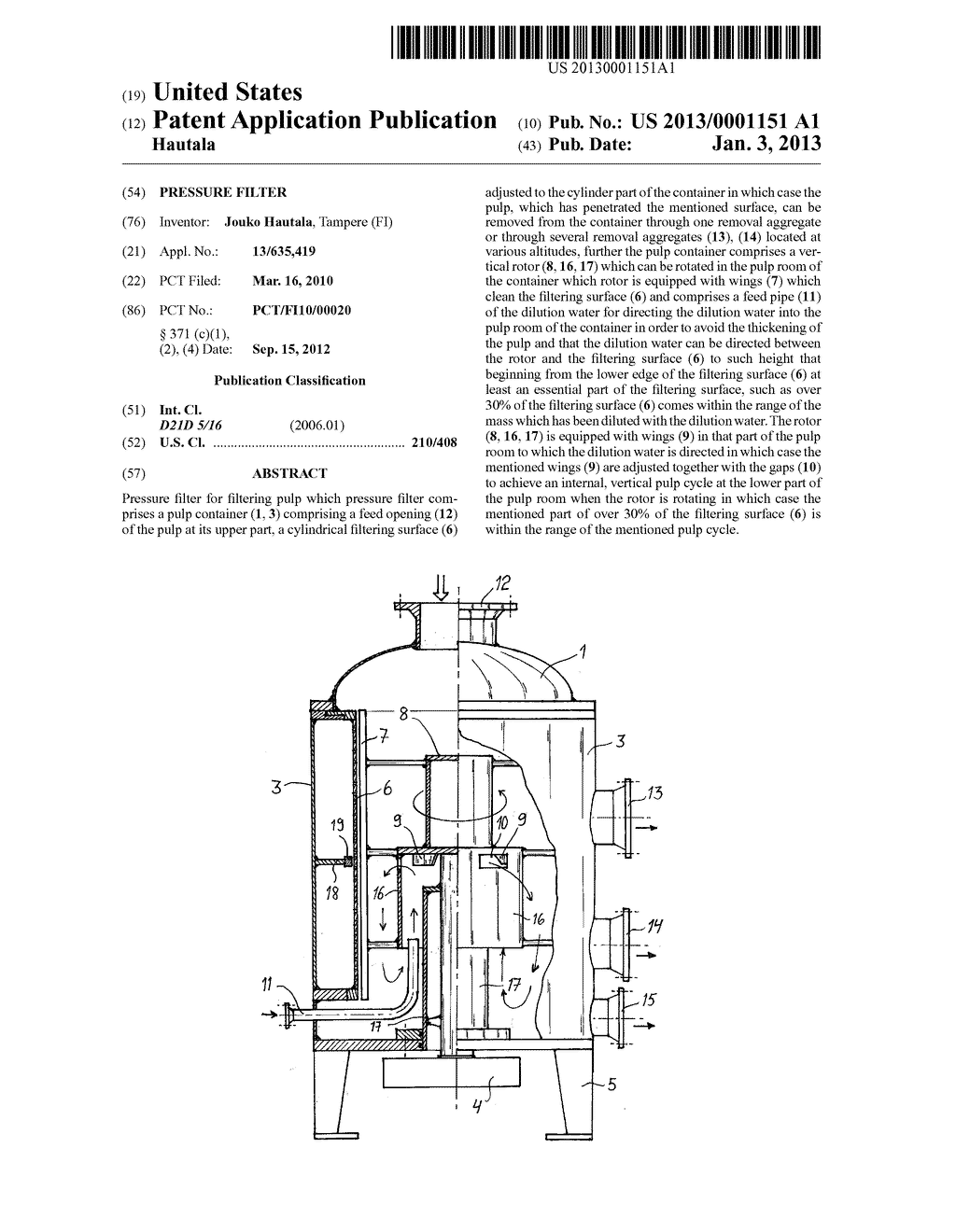 PRESSURE FILTER - diagram, schematic, and image 01Patents