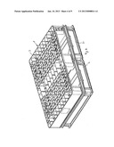 MOLDED PART FOR ACCOMMODATION AND FIXATION OF STORAGE CONTAINERS     RECTANGULAR IN OUTLINE diagram and image
