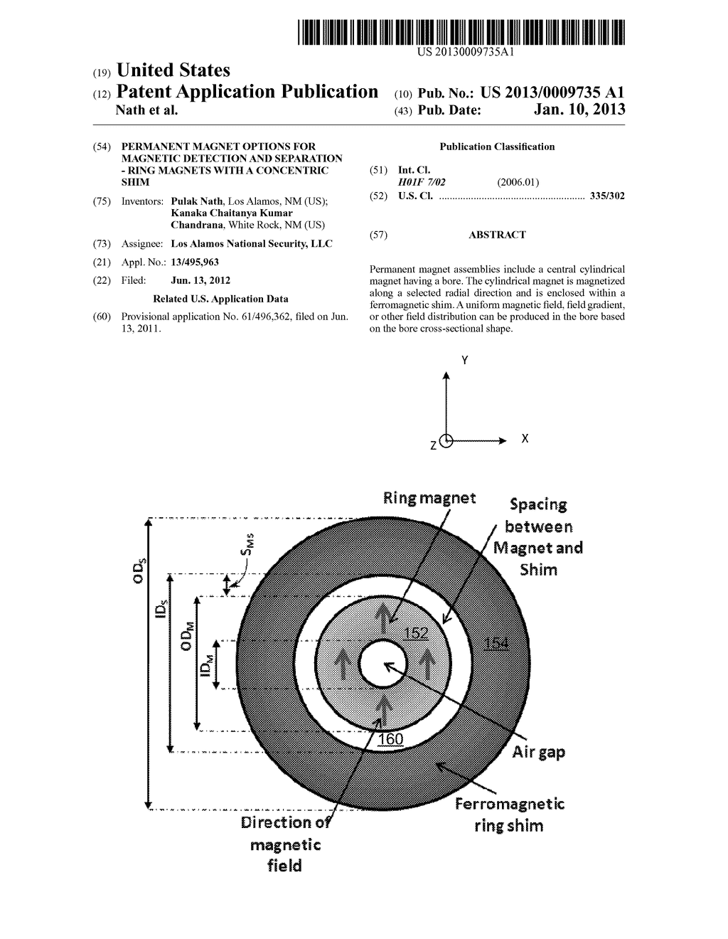 PERMANENT MAGNET OPTIONS FOR MAGNETIC DETECTION AND SEPARATION - RING     MAGNETS WITH A CONCENTRIC SHIM - diagram, schematic, and image 01