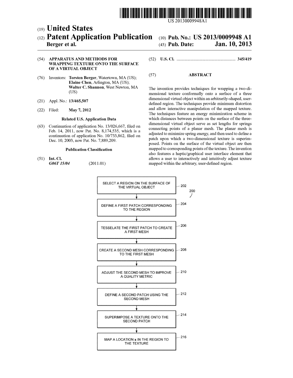 Apparatus and Methods for Wrapping Texture onto the Surface of a Virtual     Object - diagram, schematic, and image 01