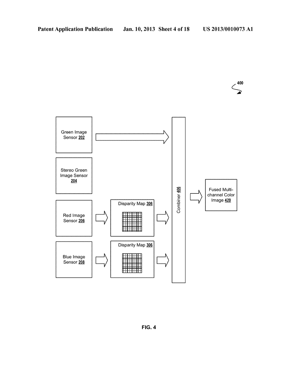 SYSTEM AND METHOD FOR GENERATING A DEPTH MAP AND FUSING IMAGES FROM A     CAMERA ARRAY - diagram, schematic, and image 05
