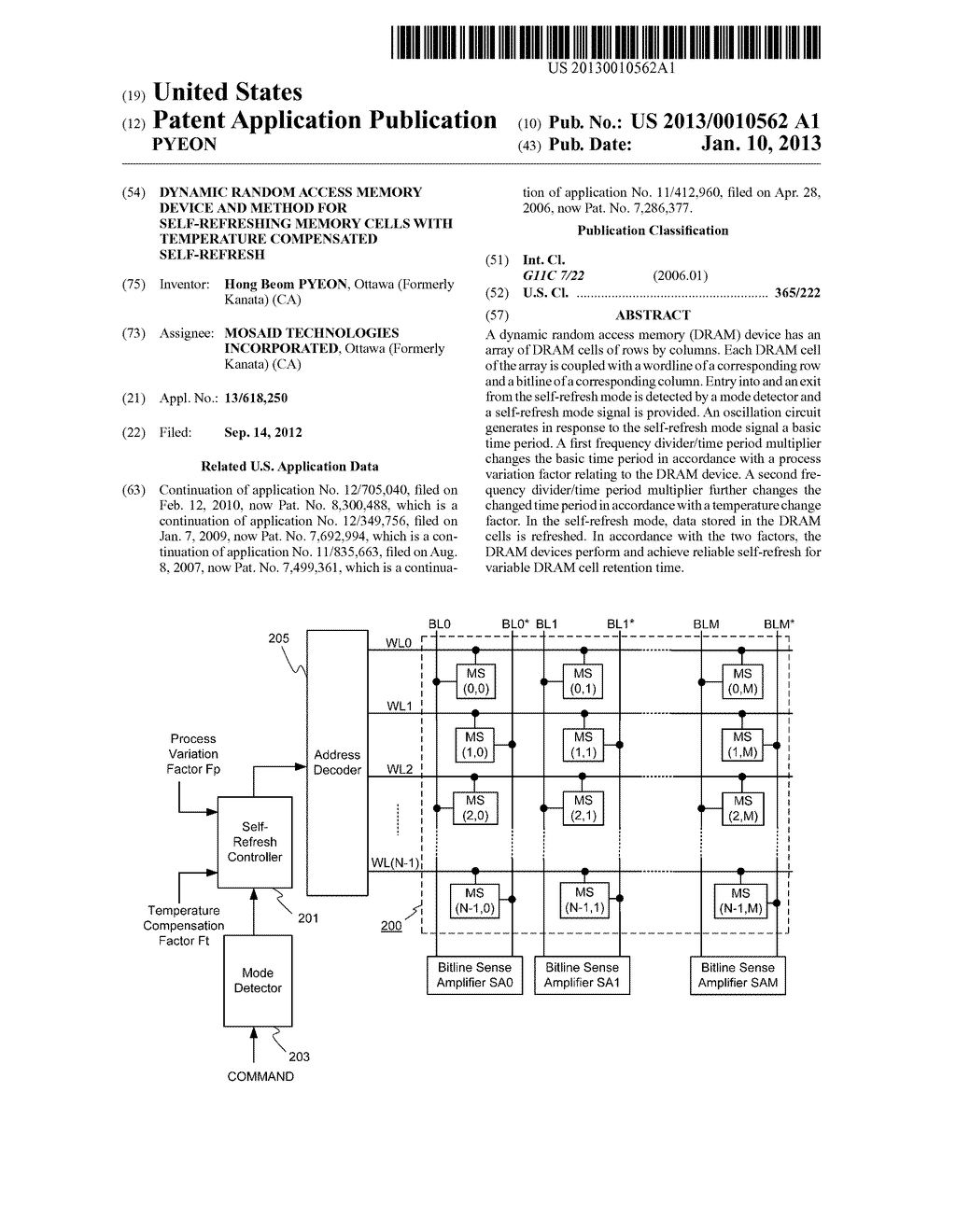 DYNAMIC RANDOM ACCESS MEMORY DEVICE AND METHOD FOR SELF-REFRESHING MEMORY     CELLS WITH TEMPERATURE COMPENSATED SELF-REFRESH - diagram, schematic, and image 01
