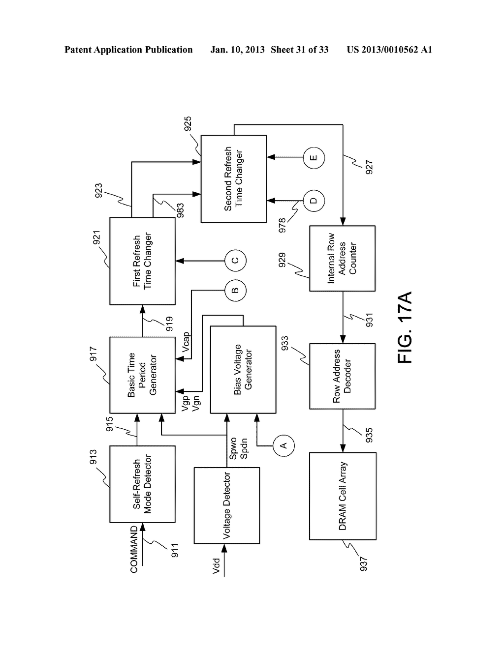 DYNAMIC RANDOM ACCESS MEMORY DEVICE AND METHOD FOR SELF-REFRESHING MEMORY     CELLS WITH TEMPERATURE COMPENSATED SELF-REFRESH - diagram, schematic, and image 32