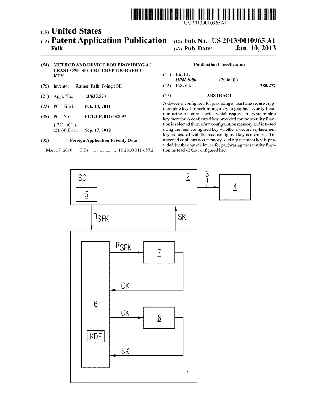 METHOD AND DEVICE FOR PROVIDING AT LEAST ONE SECURE CRYPTOGRAPHIC KEY - diagram, schematic, and image 01