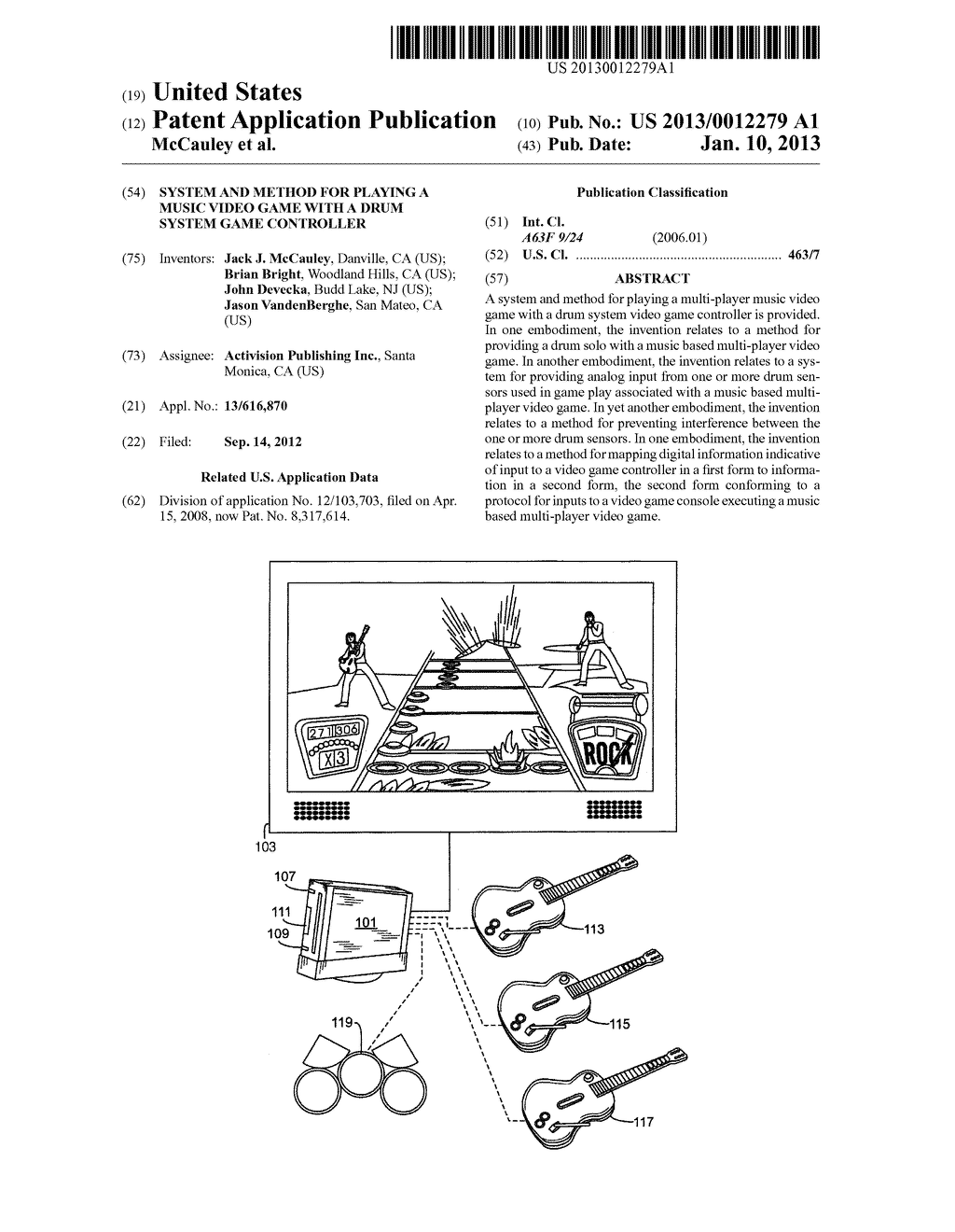 SYSTEM AND METHOD FOR PLAYING A MUSIC VIDEO GAME WITH A DRUM SYSTEM GAME     CONTROLLER - diagram, schematic, and image 01